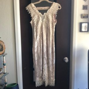 Vintage Ivory Lace with mauve under dress